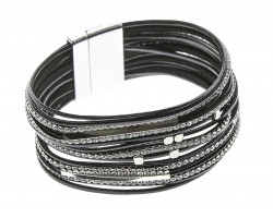 Black Leather Crystal Multi-Strand Magnetic Bracelet