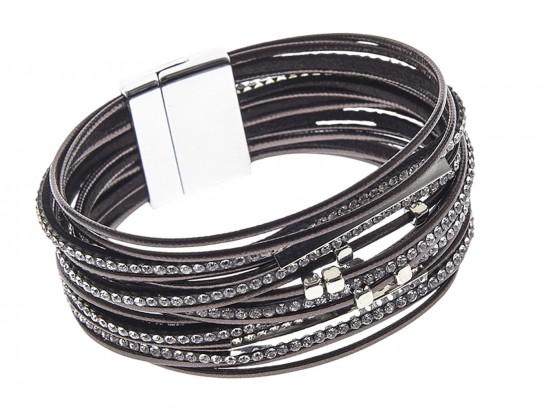 Brown Leather Crystal Multi-Strand Magnetic Bracelet