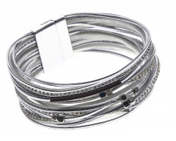 Silver Leather Crystal Multi-Strand Magnetic Bracelet