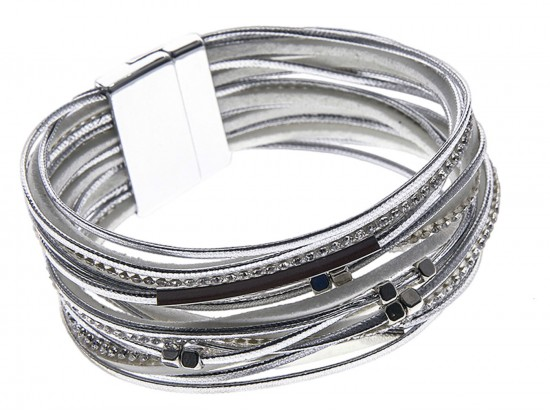 Silver Leather Crystal Multi-Strand Magnetic Bracelet