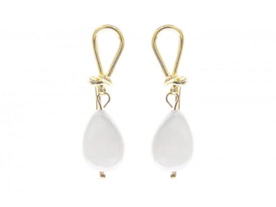 White Freshwater Pearl Drop gold Post Earrings