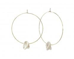 White Freshwater Pearl Nugget Gold Hoop Earring