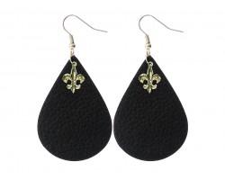 Black Leather Teardrop Gold Fleur De Lis Earrings