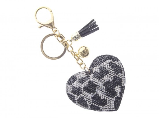 Black White Leopard Crystal Heart Puffy Key Chain