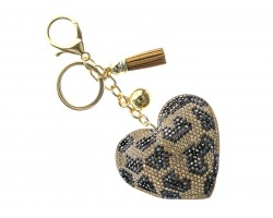 Brown Leopard Crystal Heart Puffy Key Chain