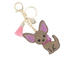 Brown Chihuahua Dog Ribbon Key Chain