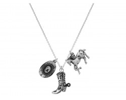 Silver Western Theme Charm Necklace