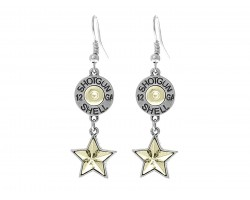 Silver Western Shotgun Shell Bullet Star Hook Earring
