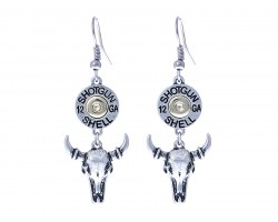 Silver Steer Head Shotgun Shell Bullet Hook Earring