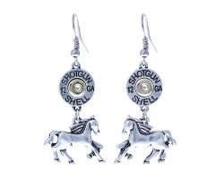 Silver Horse Shotgun Shell Bullet Hook Earring