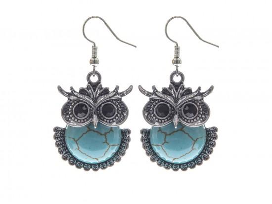 Turquoise Stone Dyed Tummy Owl Earrings