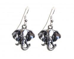 Silver Elephant Head Hook Earrings