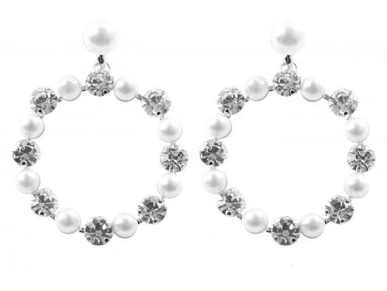 Pearl Crystal Hoop Silver Dangle Post Earrings