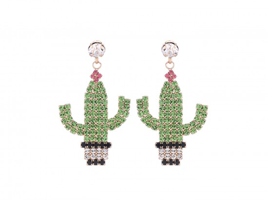 Green Cactus Pot Crystal Dangle Post Earrings