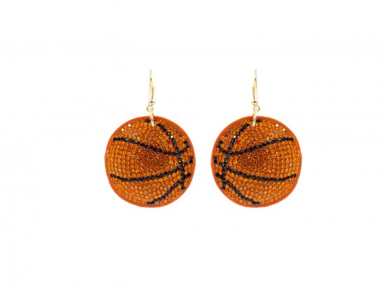 Orange Basketball Crystal Puffy Hook Earrings