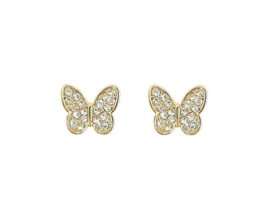 Gold Crystal Stud Butterfly Post Earrings