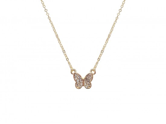 Gold Crystal Butterfly Chain Necklace