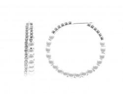 Pearl Crystal Silver Memory Wire Hoop Post Earrings