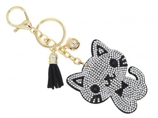 Clear Crystal Cat Bow Puffy Key Chain