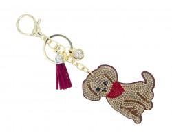 Golden Brown Crystal Dog Puffy Key Chain