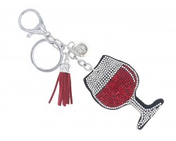 Red Crystal Wine Glass Puffy Key Chain