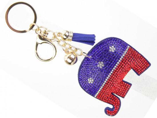 Elephant Republican Crystal Puffy Key Chain