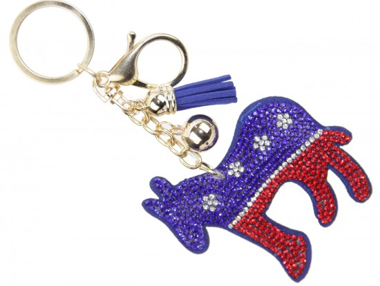 Donkey Democrats Crystal Puffy Key Chain