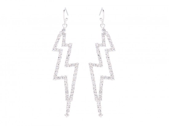Silver Clear Crystal Lightning Bolt Hook Earrings
