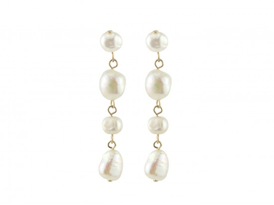 Pearl Freshwater Gold Dangle Post Earrings