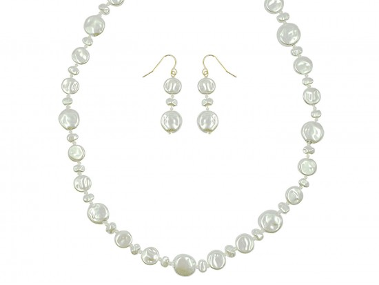 Pearl Coin Beads Knot Necklace Set