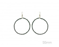 Black Cube Bead 55mm Hoop Hook Earrings