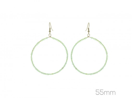 Green Peridot Cube Bead 55mm Hoop Hook Earrings