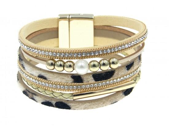 Brown Leopard Print Leather Magnetic Bracelet