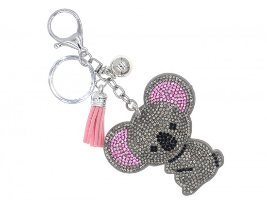 Gray Crystal Koala Bear Puffy Key Chain