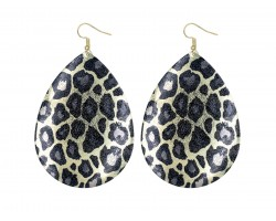 Leopard Pattern Teardrop Gold Hook Earrings