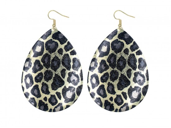 Leopard Pattern Teardrop Gold Hook Earrings