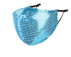 Light Blue Sequin Face Mask