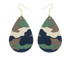 Green Camo Teardrop Leather Hook Earrings