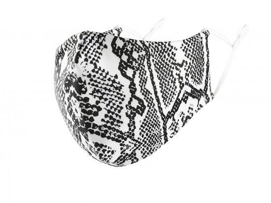 White Snakeskin Print Face Mask