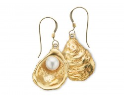 Gold Oyster Pearl Hook Earrings