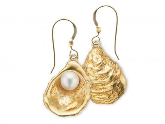 Gold Oyster Pearl Hook Earrings