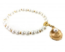 Gold Oyster Pearl Gold Stretch Bracelet