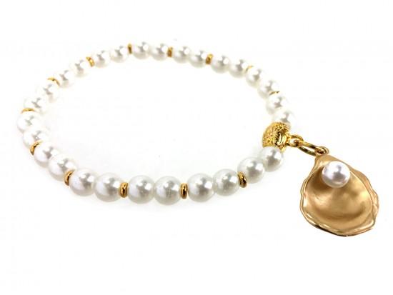 Gold Oyster Pearl Gold Stretch Bracelet