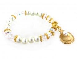 Gold Oyster Pearl Crystal Stretch Bracelet