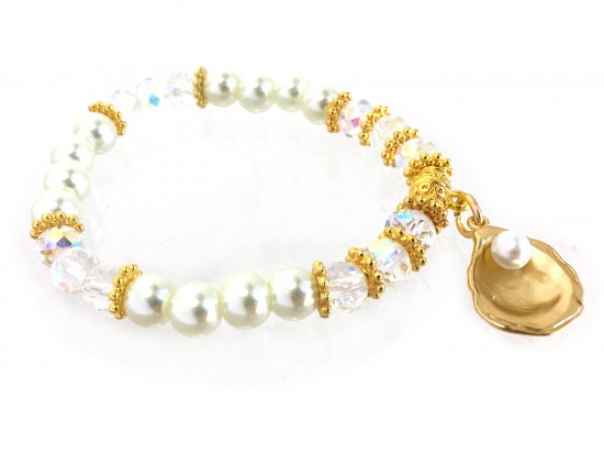 Gold Oyster Pearl Crystal Stretch Bracelet