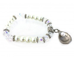 Silver Oyster Pearl Crystal Stretch Bracelet