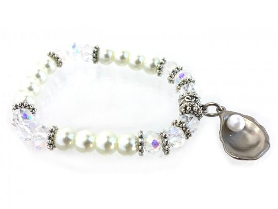 Silver Oyster Pearl Crystal Stretch Bracelet