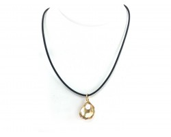 Gold Oyster Pearl Black Cord Choker Necklace