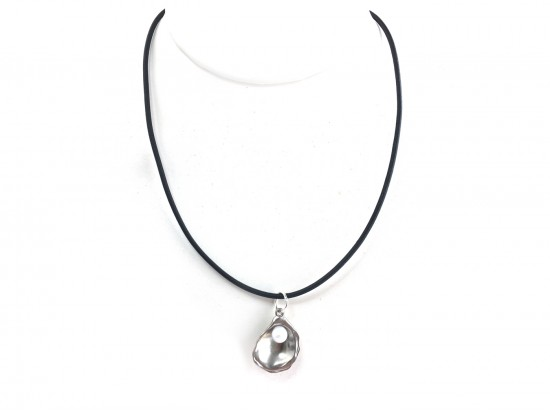 Silver Oyster Pearl Black Cord Choker Necklace