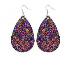 Dark Multi Glitter Teardrop Hook Earrings